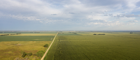 farm land: Aerial view of a South Dakota country road surounded by farm land. Stock Photo