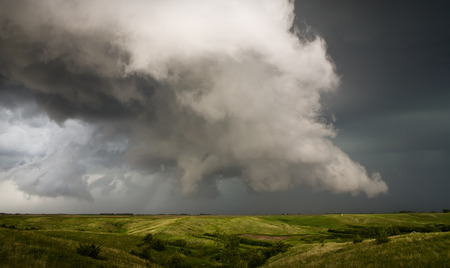 This thunder storm produced rotation and a lowering cloud as it crossed the Plains.