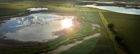 slough: Aerial shot of a South Dakota Prairie Pot-hole or slough  pond...