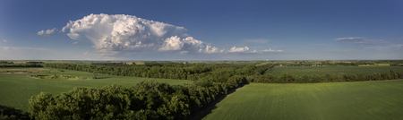 midwest: A Cumulus cloud floating over the Midwest coutryside in South Dakota on a Summer evening.