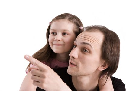 The father and the daughter attentively looking afar Stock Photo - 5213671