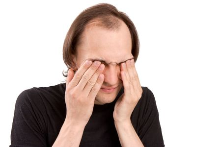 The white man keeps hands for sick eyes Stock Photo - 5213677