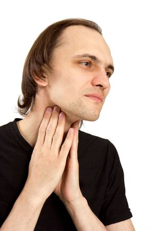 The white man keeps a hand for a sick neck Stock Photo - 5213679