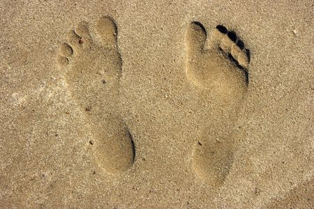 Photo of prints naked a foot on a sandy beach photo
