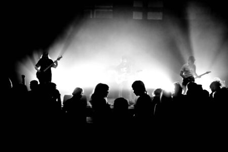 Black-and-white photo from a rock concert