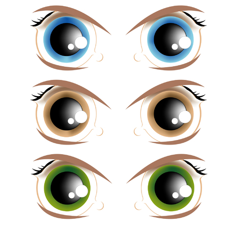 The vector image of animated eyes of different colour Vector