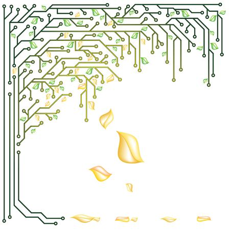 Electronic tree with yellow and green leaves in a vector photo
