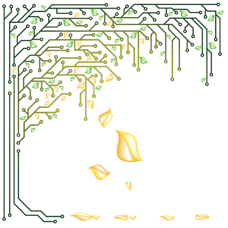 ベクターの黄色と緑の葉を持つ電子ツリー  イラスト・ベクター素材