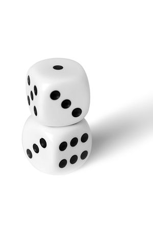 Playing cubes of white colour on a white background photo