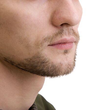 Unshaven bottom part of a mans face photo