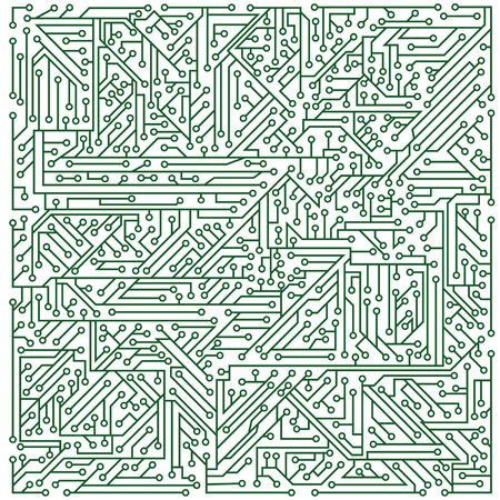 microcircuit: Green structure of a microcircuit on a white background