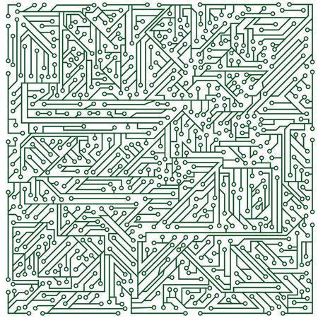 Structure verte d'un microcircuit sur un fond blanc