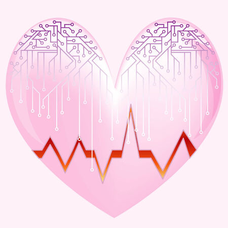 Pink heart with the cardiogramme and microcircuit Vector