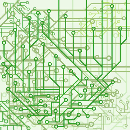 Background from electronic schemes in green tones Vector