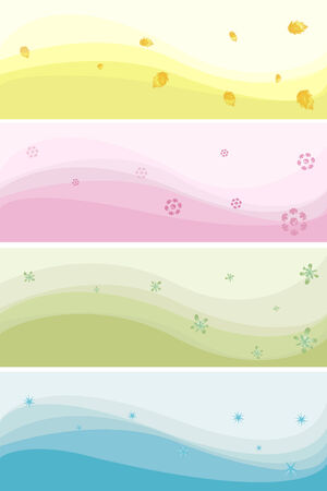 Vector banners of different colours on a theme of seasons