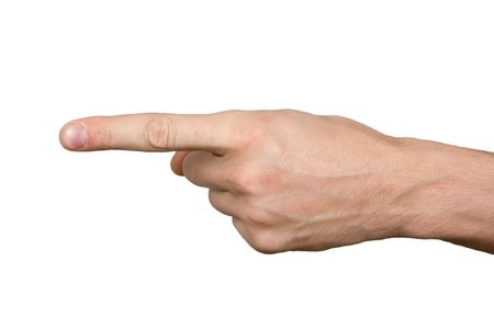 finger point: On the isolated background the hand shows a forefinger aside