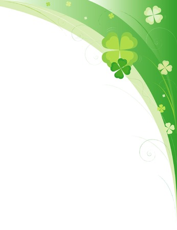 Green framework with leaves of clover and waves Illustration