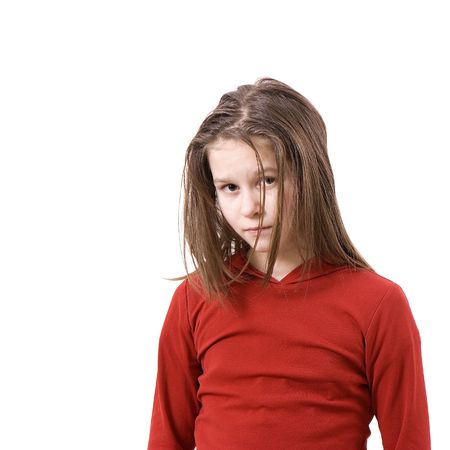 uncombed: On white background the sad uncombed little girl Stock Photo