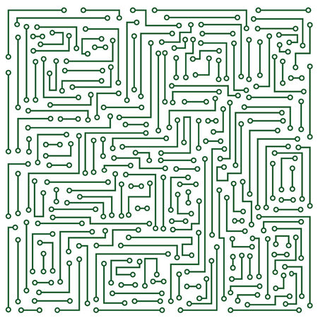 microcircuit: Abstraction representing white electronic microcircuit on darkly green background