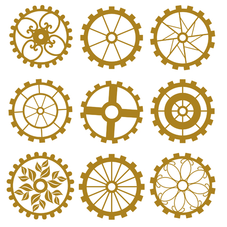 industrially: Set of gears of the different form on white background
