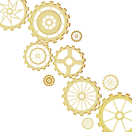 Set of gears of the different form on white background