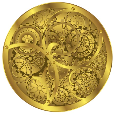 Difficult clockwork of gold colour on white background Illustration