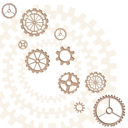 basic scheme: Set of gears of the different form on white background