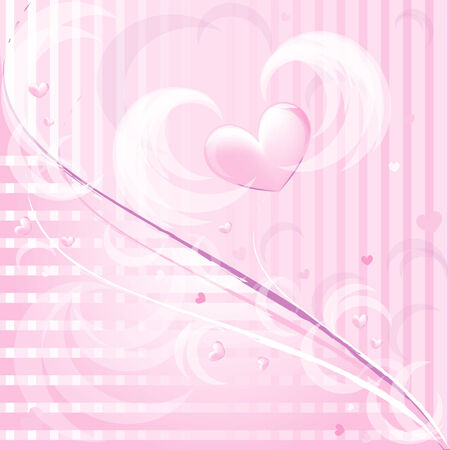Pink romantic background with heart  Vector