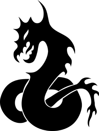oriental ethnicity: Black silhouette of the stylised dragon. Simple tattoo Illustration