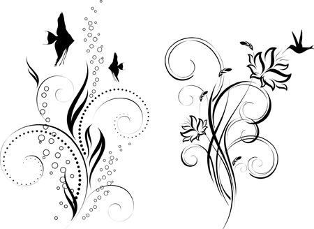 花のデザイン。水中の飾り。花柄。鳥や魚