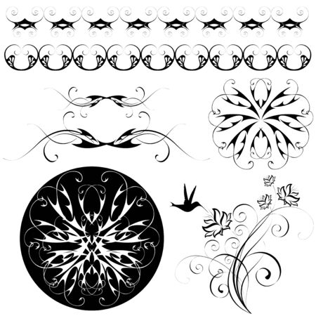 set of monochrome flowery patterns and ornaments Stock Vector - 6881813
