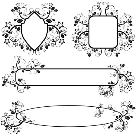 set of vectors monochrome frames with floral pattern Stock Vector - 6881807