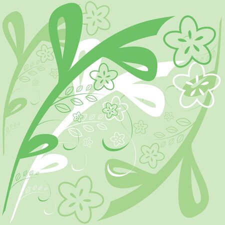 background with a simple floral pattern of green Stock Vector - 6881802