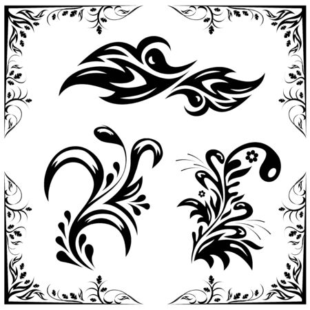 a set of black different patterns for decoration Vector