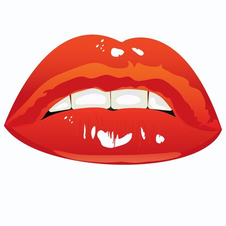 illustration. Sexual lips women painted red lipstick Vector
