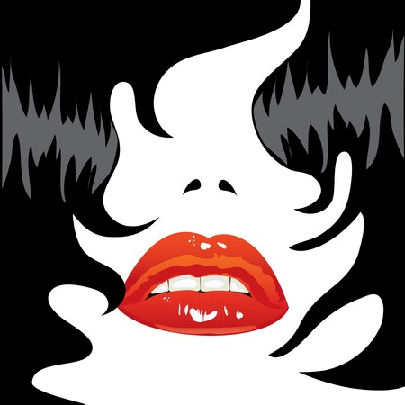 illustration. Person brunette. Sexy lips and black hair