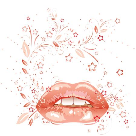 sexual parted lips painted pink lipstick. Illustration Illustration