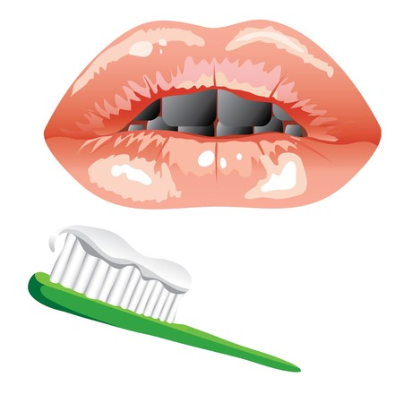 glamorous mouth with diseased teeth. toothbrush with toothpaste. Illustration Vector