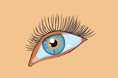 long eyelashes: Blue female eye with long eyelashes. illustration