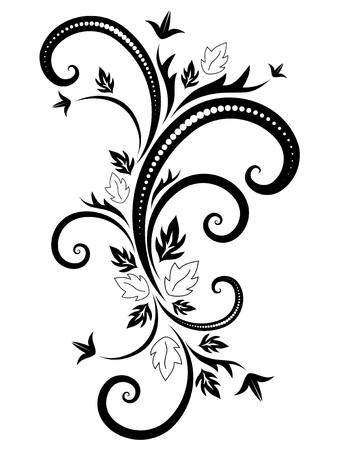 黒い背景の白の花柄の装飾のために