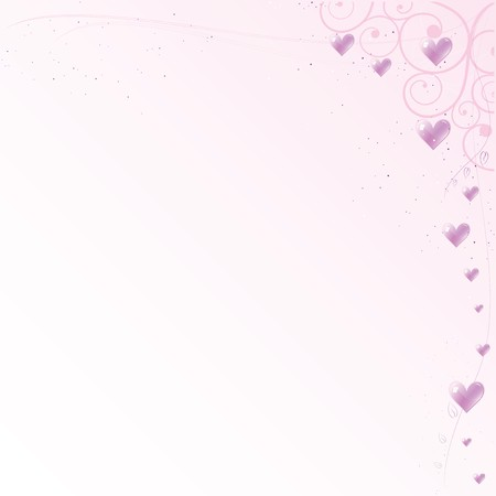 Pink romantic framework with hearts and curls Vector