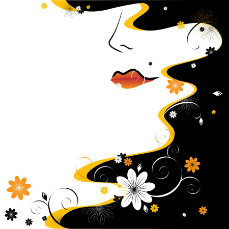 pelo ondulado: abstracci�n. Rostro femenino, pelo negro y patrones florales