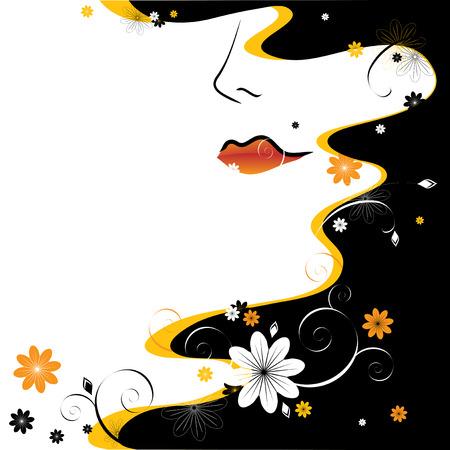 Abstraktion. Weibliches Gesicht, schwarze Haare und floralen Mustern  Vektorgrafik