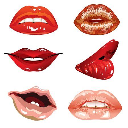 vector set gemaakt van vrouwen en kinderen de lippen  Vector Illustratie