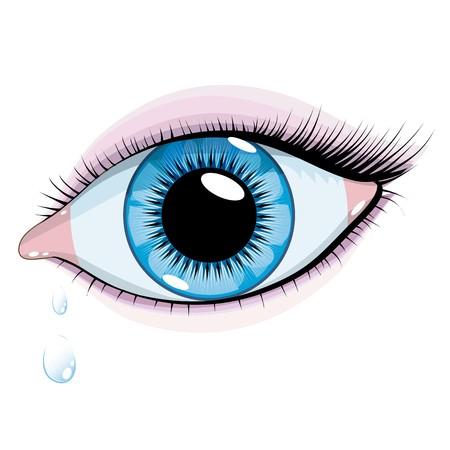 白い背景の上の美しい青い目の女性