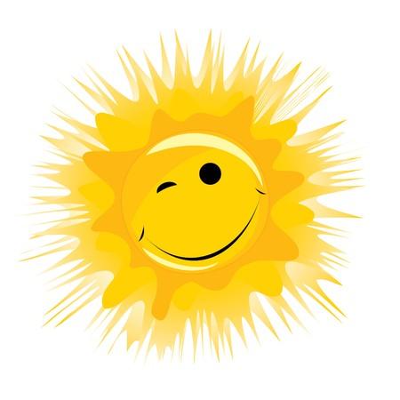sol caricatura: smiley feliz amarillo sol sobre un fondo blanco  Vectores