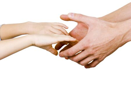 man holding a child's hands on a white background Stock Photo - 7490591