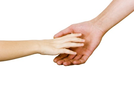 child's hand reaches for the male hand on a white background Stock Photo - 7490579