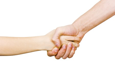 friendly handshake man and child on a white background  photo