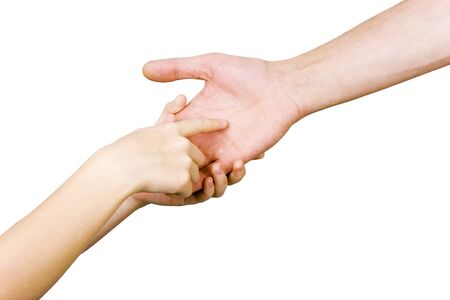 astrologist: childs hand holding a mans hand on a white background Stock Photo